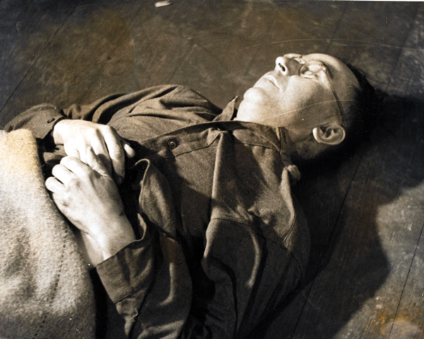 Heinrich Himmler's body at 2nd Army Headquarters, Luneberg, May 1945