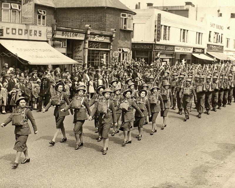 An ATS unit parading through Colwyn Bay, c1945