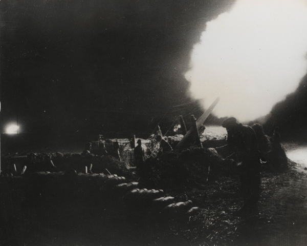 Artillery barrage during the British assault on the River Rhine, March 1945