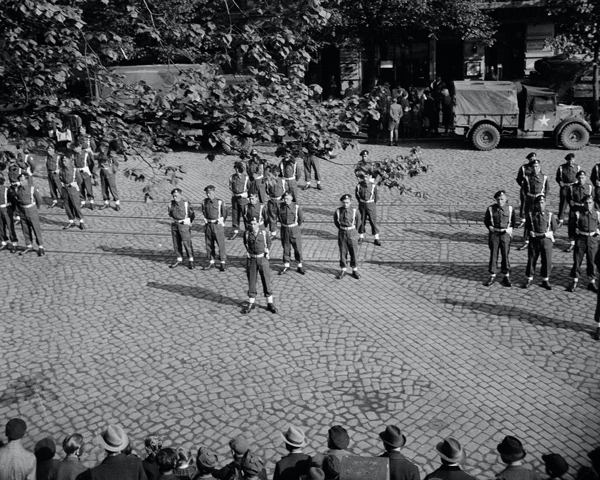 British troops parade in front of German civilians in occupied Hamburg, May 1945