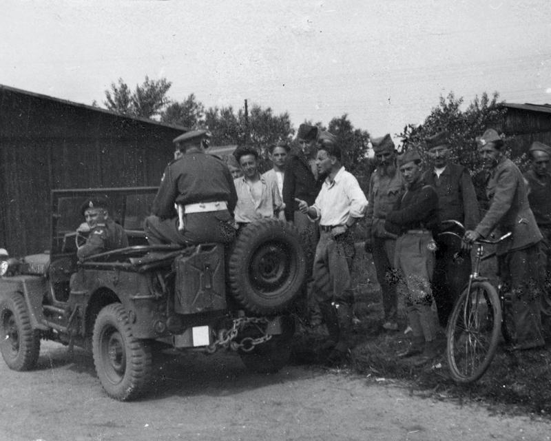 Members of the Royal Armoured Corps visit Yugoslav DPS at Elmshorn, 1945