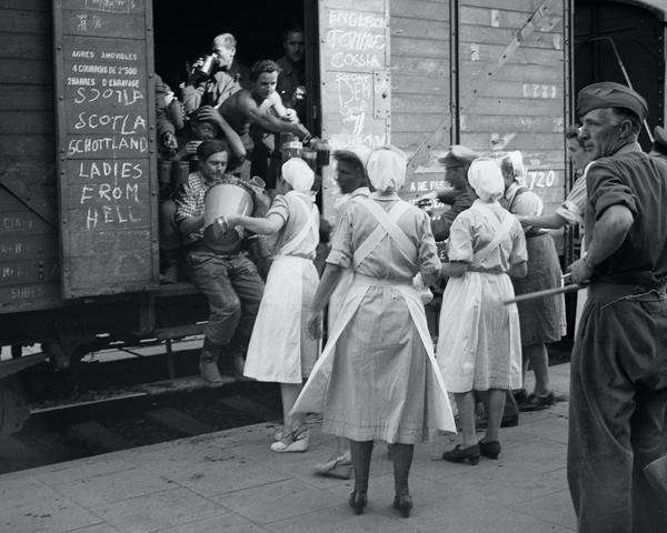 Demobilised German soldiers being sent home by train, 1945