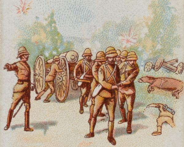 Members of 'Q' Battery, Royal Horse Artillery, rescuing their guns, 31 March 1900