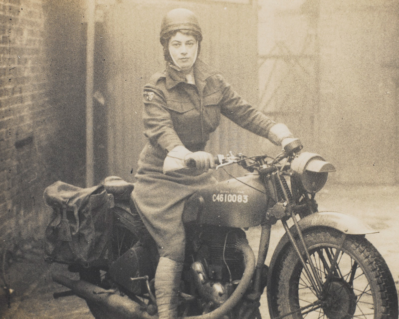 Valerie Erskine Howe, Auxiliary Territorial Service, on a motorbike, 1940s