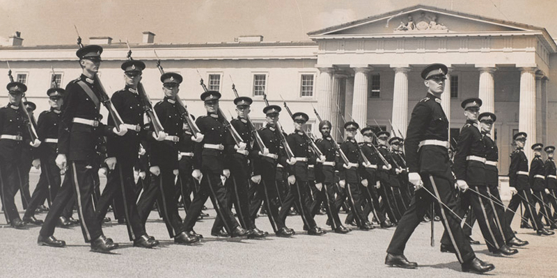 Officer cadets on parade at the Royal Military Academy Sandhurst, c1950