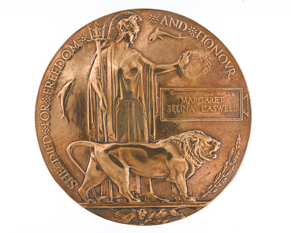 Commemorative Medallion issued to next of kin of Margaret Caswell, QMAAC, c1918