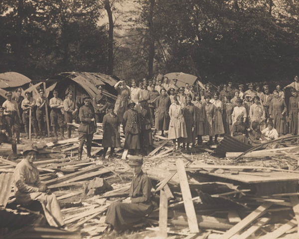 QMAAC clearing up after an air raid at Abbeville, 1918