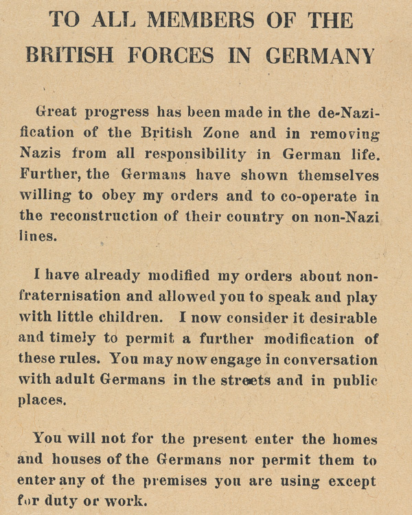 Notice from Field Marshal Montgomery relaxing the rules on fraternisation, July 1945