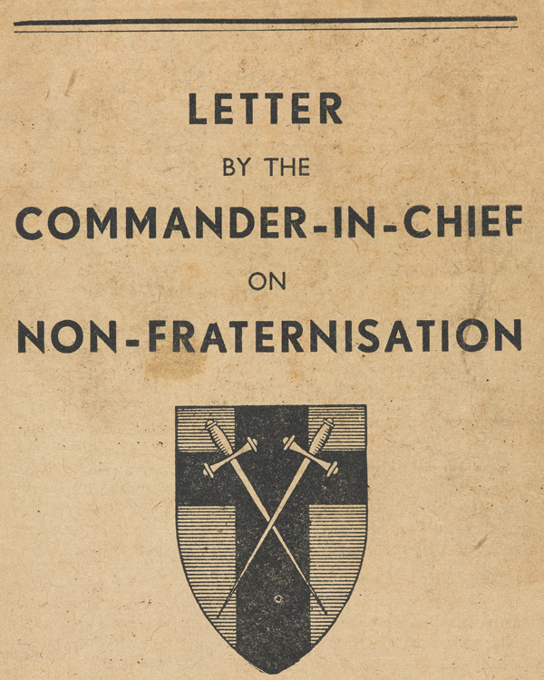 Letter from Field Marshal Montgomery on non-fraternisation, March 1945