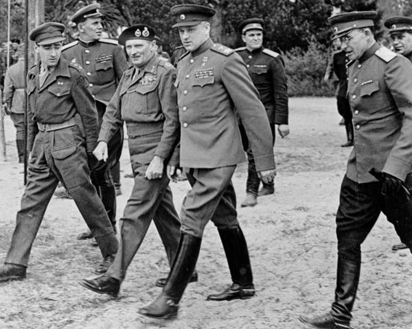 Field Marshal Bernard Montgomery with Marshal Konstantin Rokossovsky, 10 May 1945