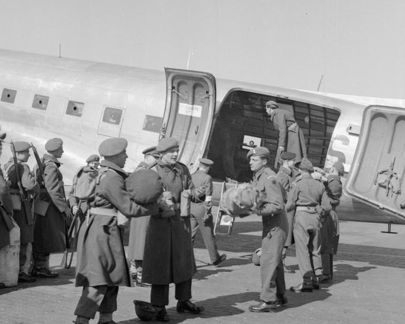 The Royal Welch Fusiliers arrive at RAF Gatow to reinforce the British garrison during the Berlin Blockade, 1949