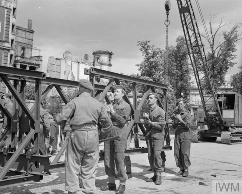 Royal Engineers building a Bailey Bridge in West Berlin to aid the movement of supplies, 1949