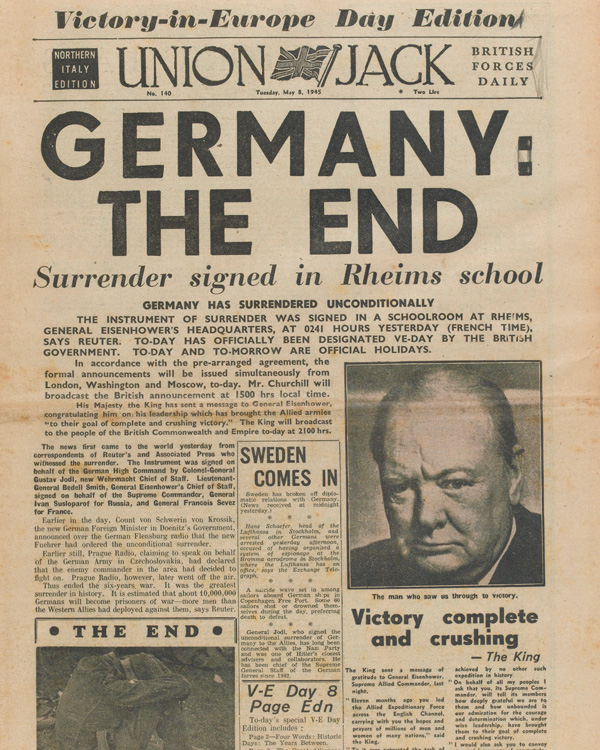 'Union Jack' British forces newspaper, VE Day edition, 8 May 1945