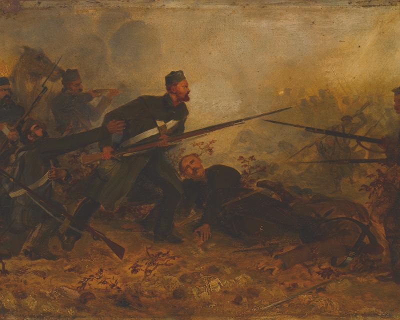 Private John McDermond, 47th (The Lancashire) Regiment, winning the VC at Inkerman, 5 November 1854