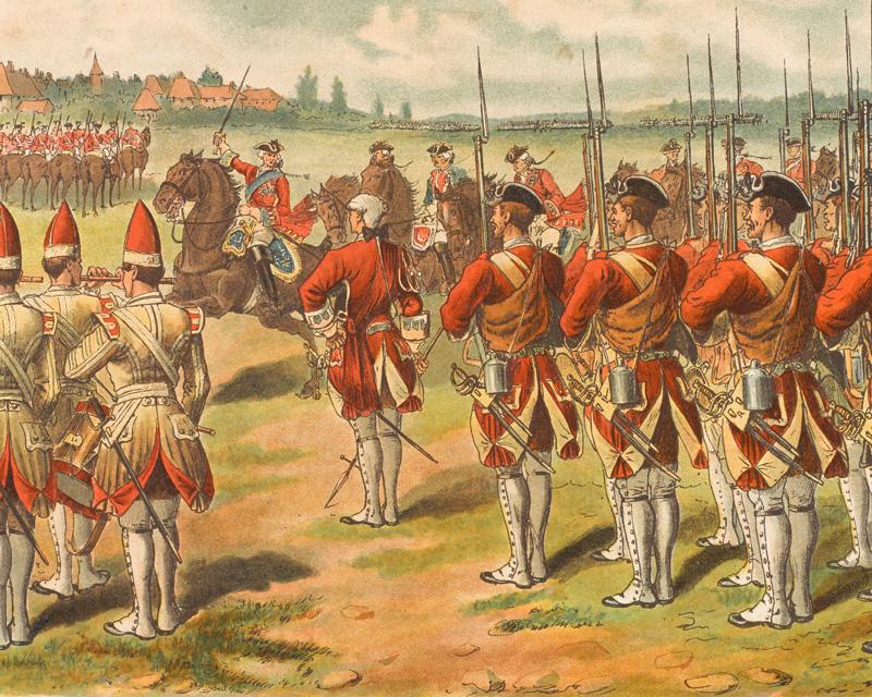 King George II rallying his troops at Dettingen, 27 June 1743