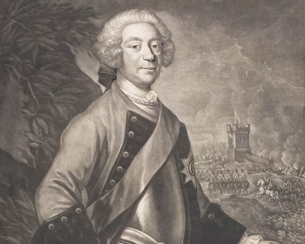 Lieutenant General Sir John Ligonier, who's bravery at Dettingen led King George to make him knight banneret on the field of battle, 1743