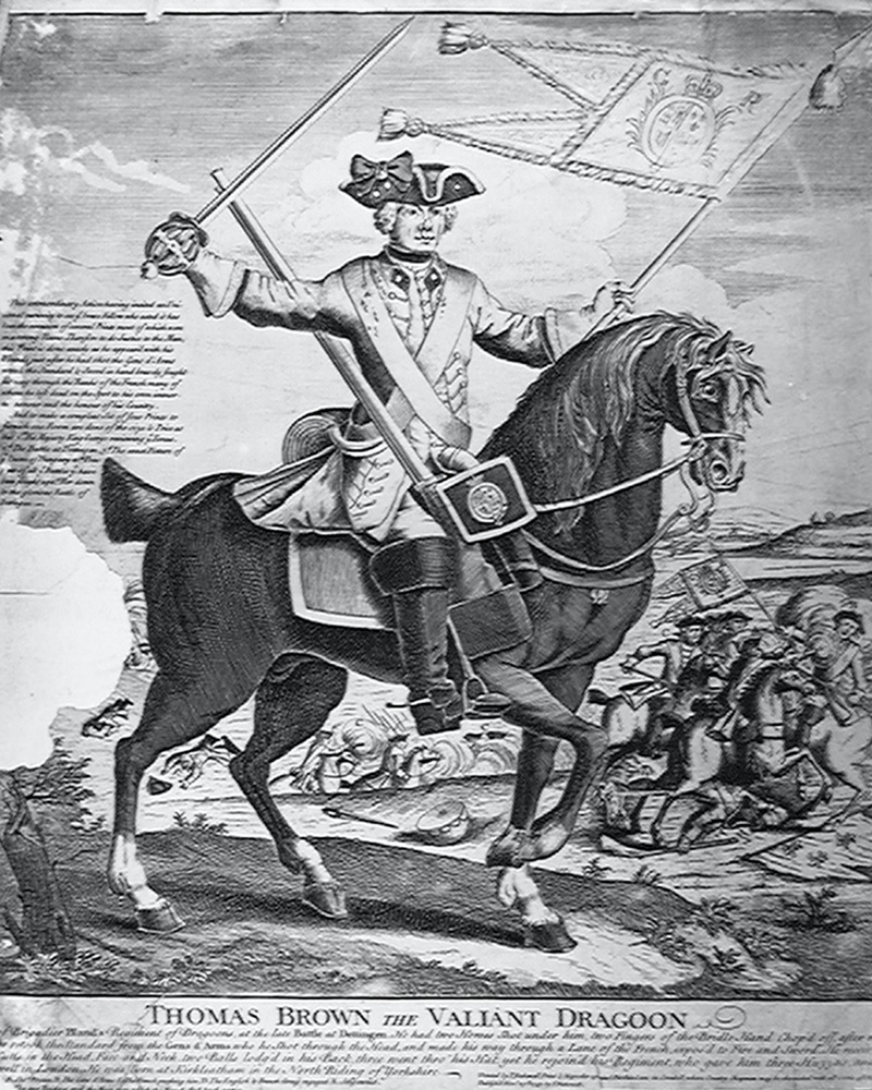 Tom Brown, 'the Valiant Dragoon', saving the King's Regiment of Dragoons' guidon at Dettingen, 1743