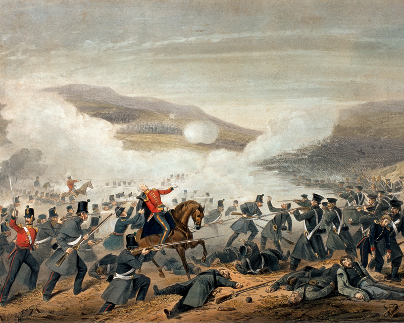 'The Battle of Inkermann Novr. 5th. 1854. The Gallant attack of Lieut.[sic] General Sir Geo. Cathcart who was killed with several officers in the engagement'