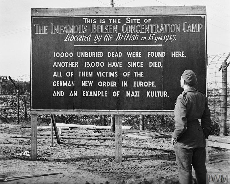 A sign erected by British at Belsen's entrance, May 1945