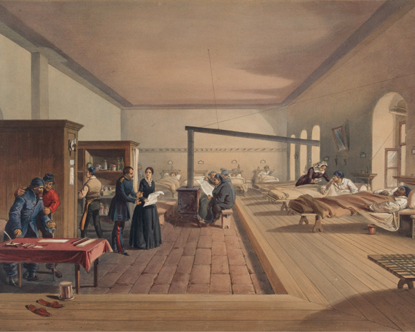 Patients in a ward at Scutari Hospital, 1856