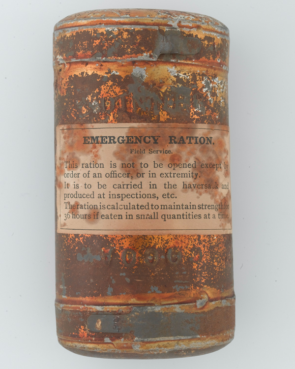 Tin of field service emergency rations, c1900