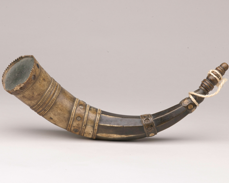Powder horn used by a soldier of the 40th Regiment, c1780