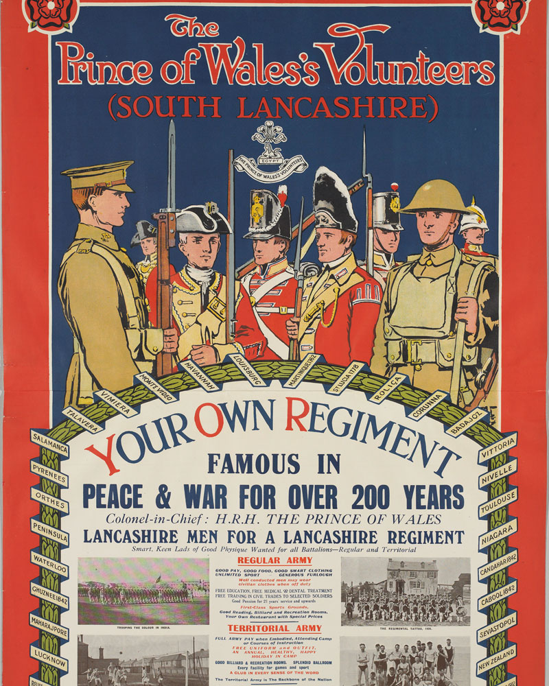 Recruiting poster for the South Lancashire Regiment, c1930