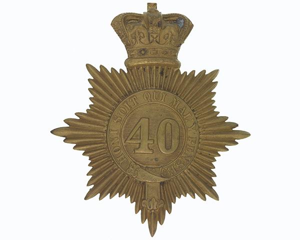 Shako plate, 40th (2nd Somersetshire) Regiment, c1855