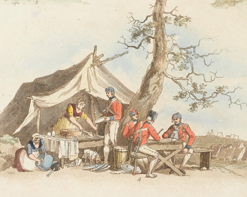 Soldiers eating in camp, c1803