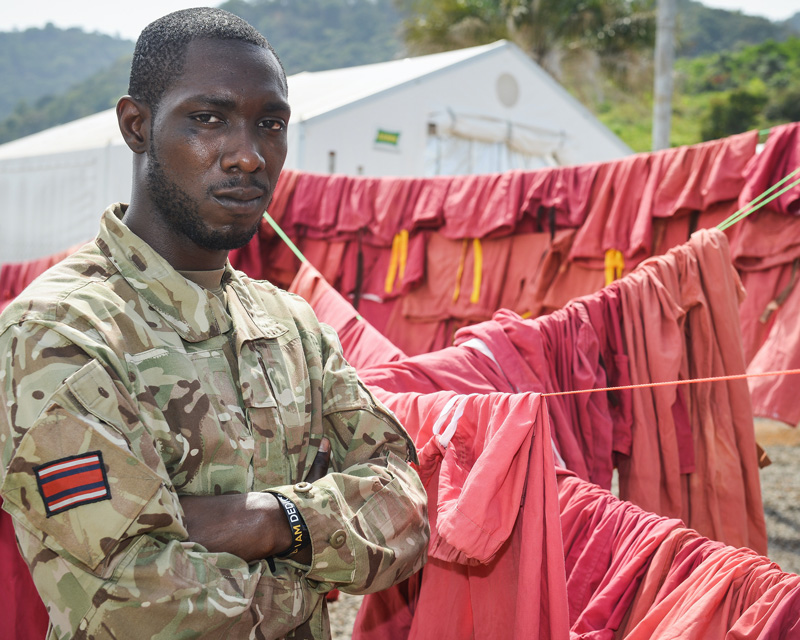 A member of Queen Alexandra's Royal Army Nursing Corps in Sierra Leone during the Ebola outbreak, 2015