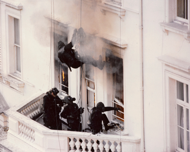 SAS troop entering the windows of the Iranian Embassy, 1980