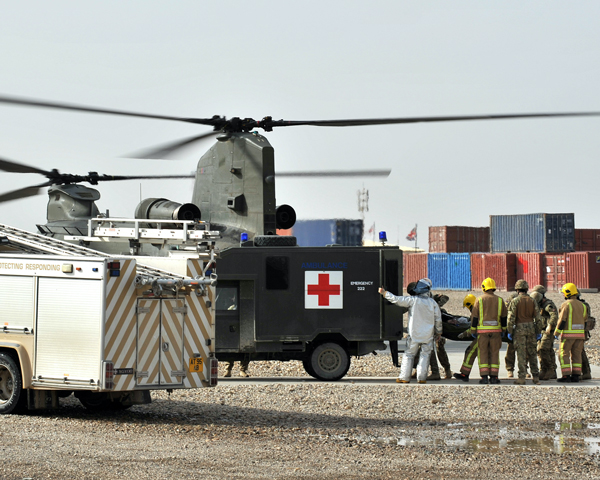 A casualty arriving at Camp Bastion, 2012