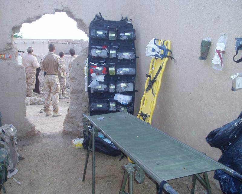 A medical aid post at a Forward Observation Base in Helmand, 2008