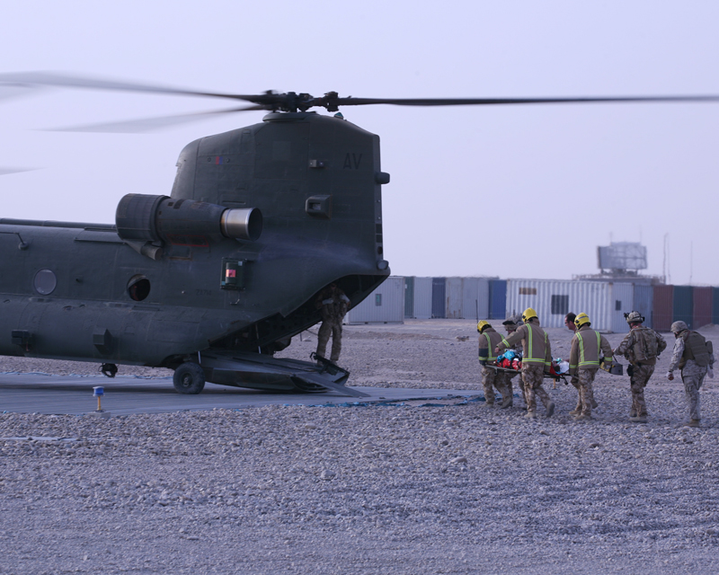 Carrying an IED casualty on to a Chinook, 2007