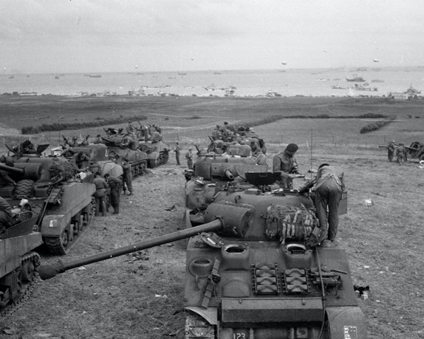 Tanks of 3rd County of London Yeomanry (Sharpshooters) in the de-waterproofing area, Normandy, June 1944