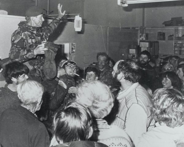 Major General Moore carried aloft by jubilant islanders ,14 June 1982