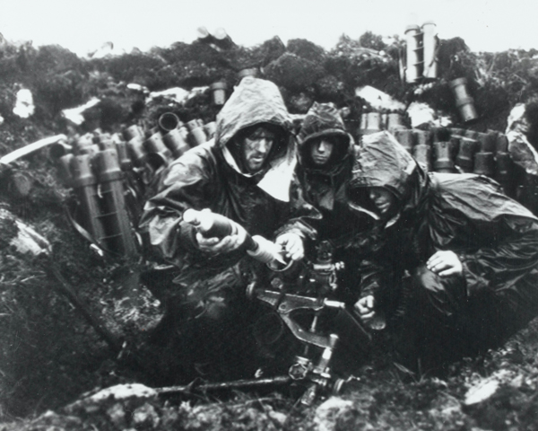 An 81 mm mortar team of 42 Commando in action, 1982