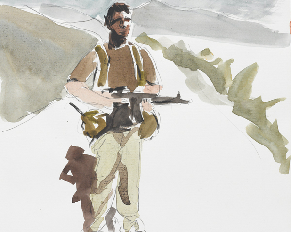 Self-portrait on patrol in the North West Frontier by a member of the Joint Counter-terrorist Training Advisory Team, 2010