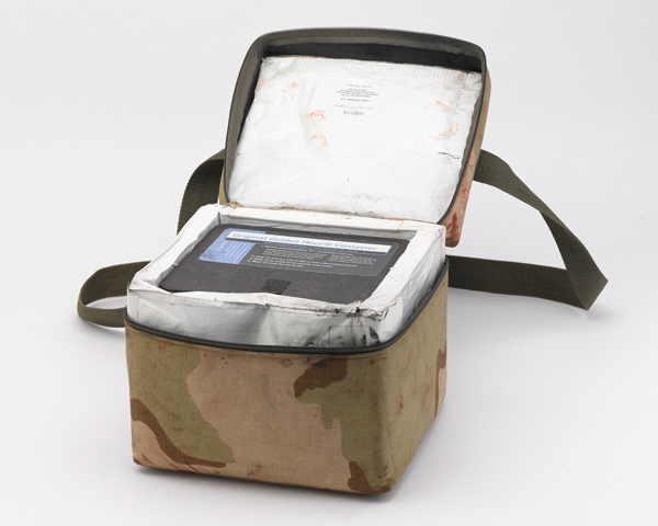 Blood shock pack container used on a MERT helicopter flight, 2013