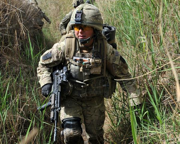 Combat medic Corporal Debbie Bailey on patrol in Helmand, 2011