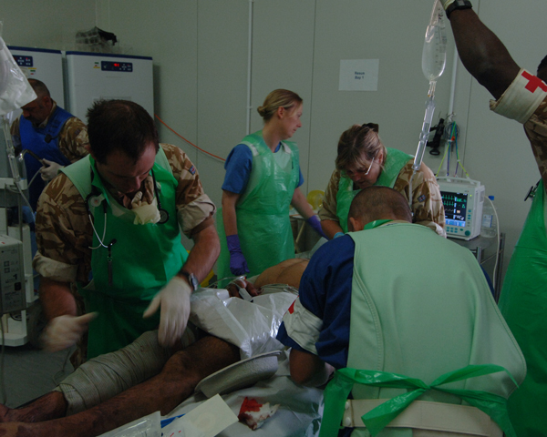 A casualty being treated at Camp Bastion Hospital, 2008