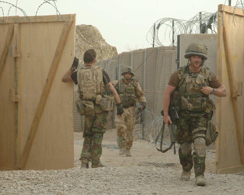 Troops from 2nd Battalion Parachute Regiment returning to Forward Operating Base Gibraltar near Sangin, August 2008