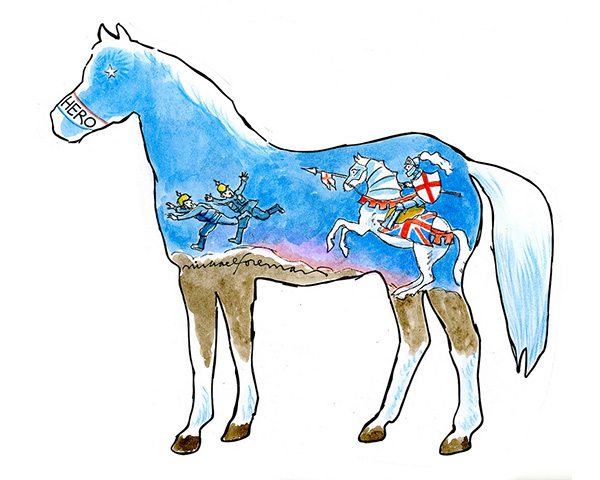 Paper war horse decorated by Michael Foreman