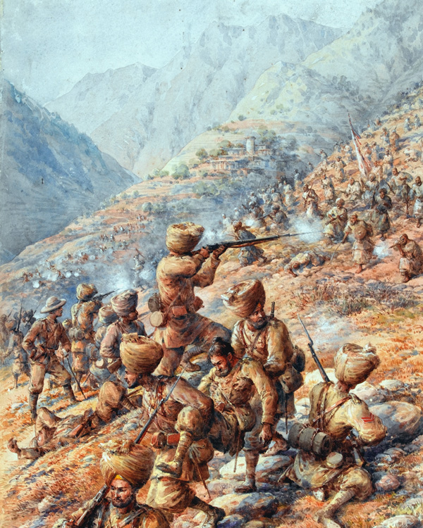 Malakand Field Force, repelling an attack by tribesmen, 1897