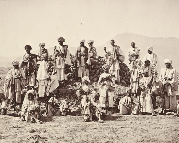 An Afridi picket near Jamrud, Khyber, c1879