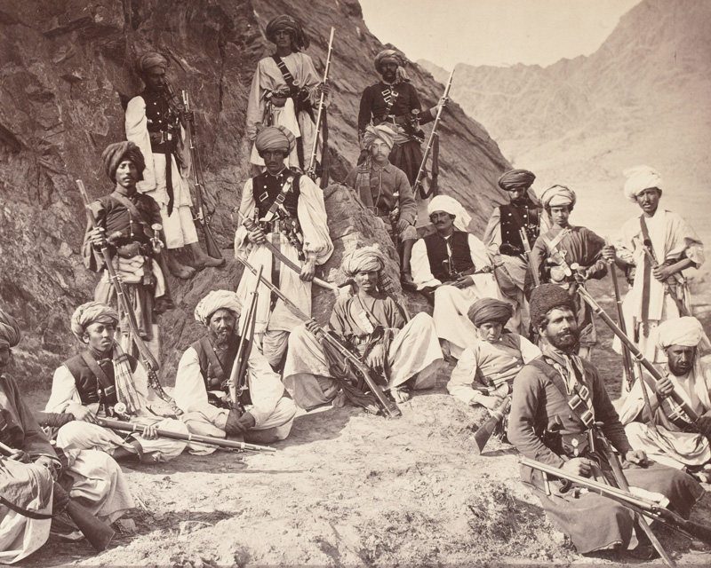 The Khan of Lalpura and followers, with political officer, 1878