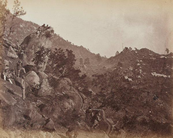 A British picket and camp during a frontier expedition, c1863