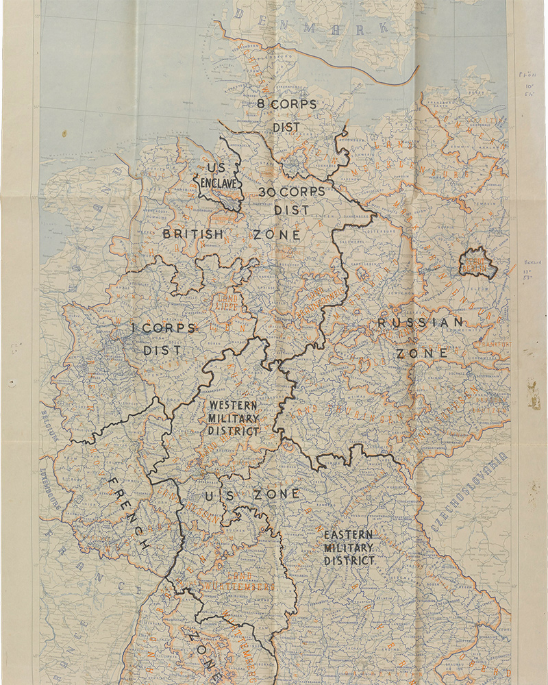 Map of Germany, 1942, customised to show the borders of the different zones of occupation in 1945
