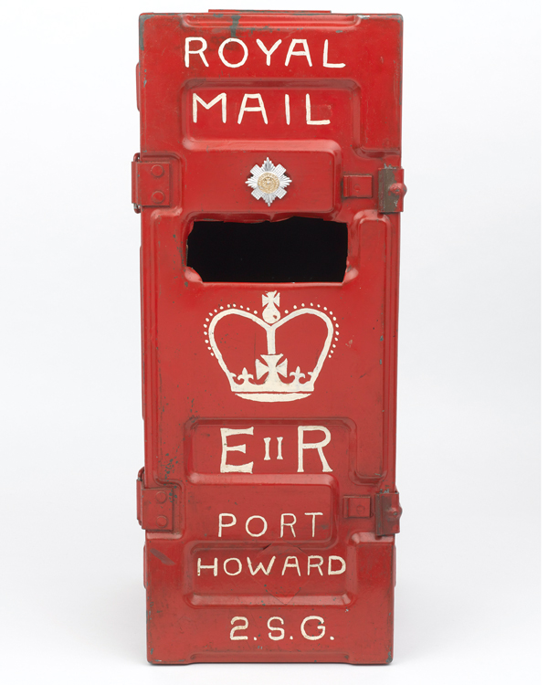 Homemade post box used by the Scots Guards at Port Howard, 1982