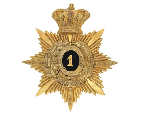 Helmet plate, officer, 1st West India Regiment, c1880